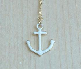 White Anchor Necklace