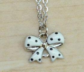 Black Polka Dots on White ribbon Necklace