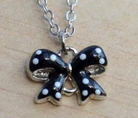 White Polka Dots on Black ribbon Necklace